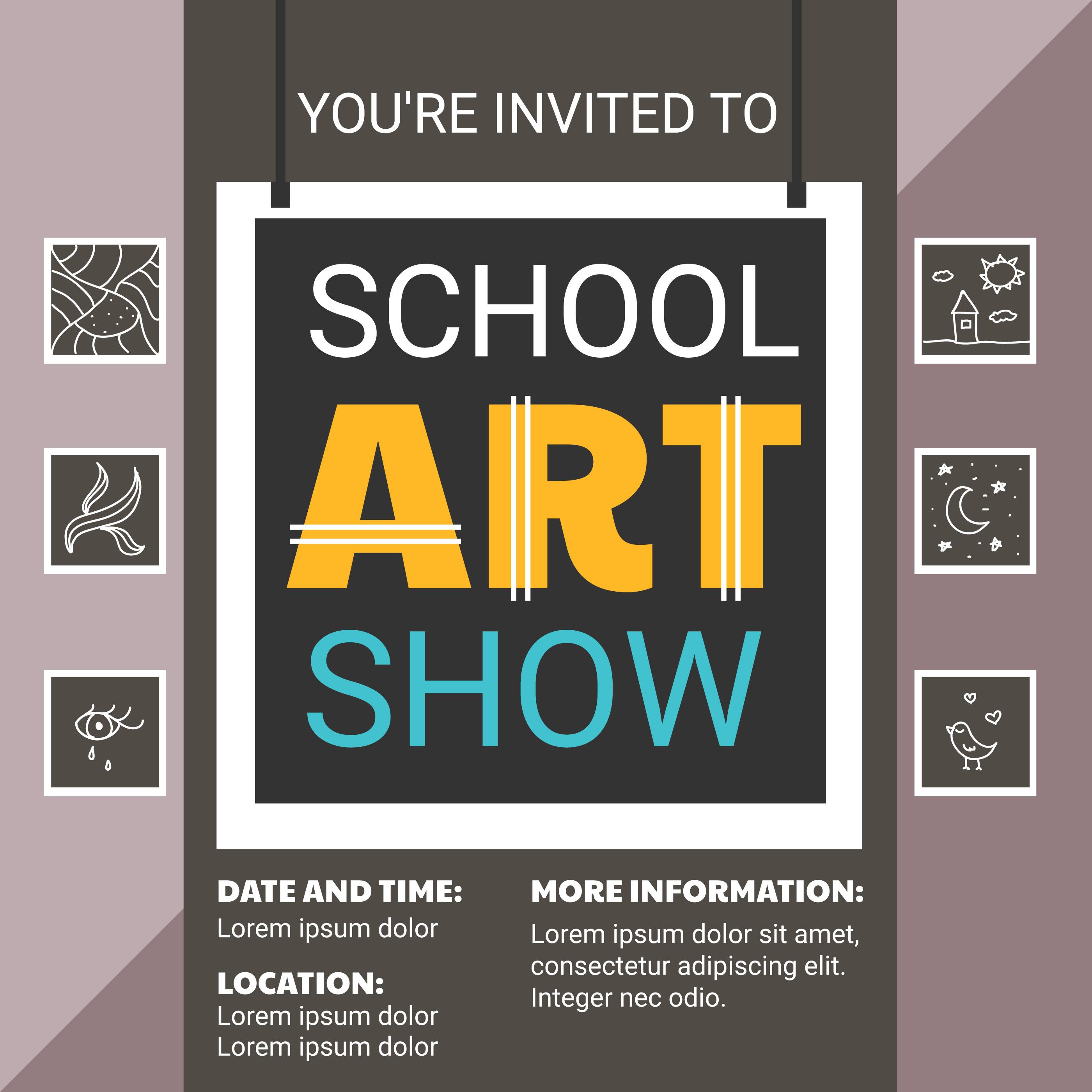 Plantilla Flyer del show de arte escolar - Descargue Gráficos y ...