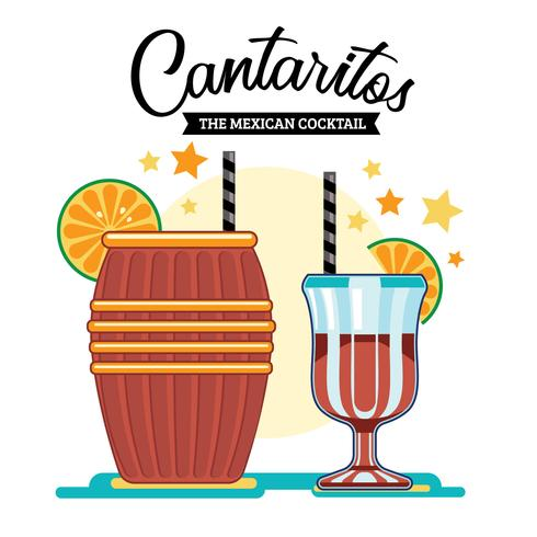 Illustratie van de Mexicaanse cocktail van Cantaritos