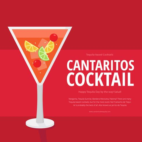 Plantilla de ilustración gráfica publicitaria de cóctel de Cantaritos