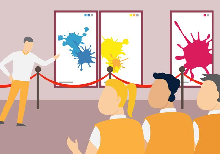 Ilustração de vetor de exposição de arte de escola