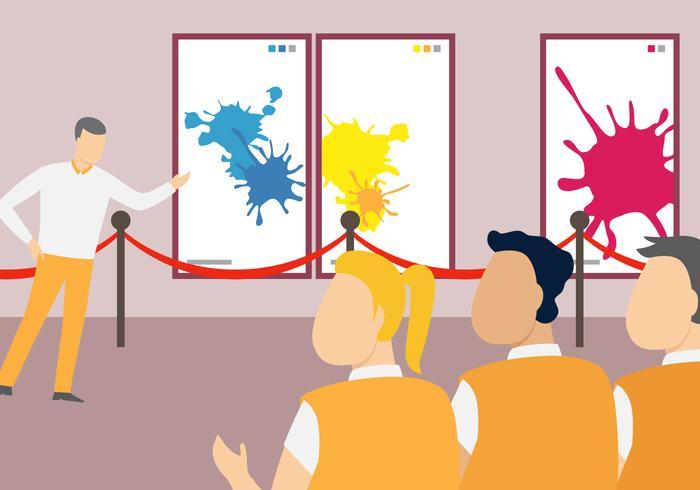School Art Exhibition Vector Illustration