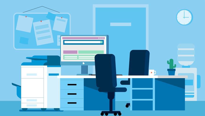 Vetorial, dentro, escritório, ilustração