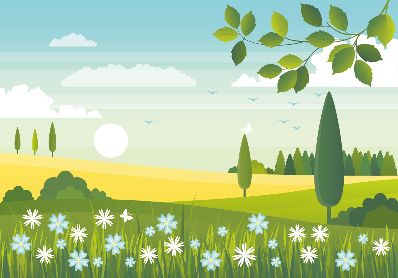 Landscape Illustration Vector Free: Vector Spring Landscape Design
