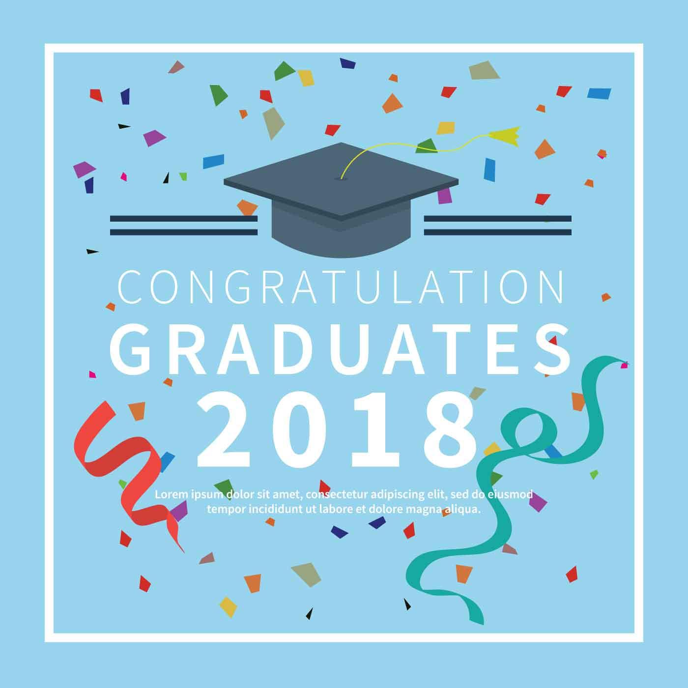 graduation card with blue background illustration