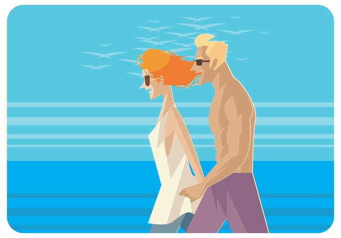 Couple Walking at The Beach Vector