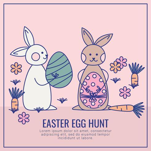 Cartão de caça ao ovo de Páscoa de vetor