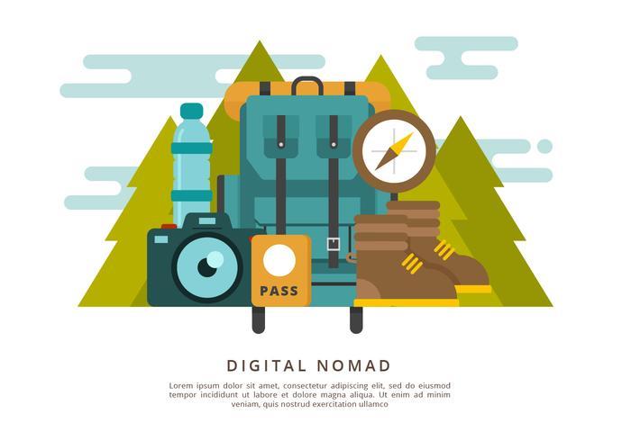 Illustration vectorielle de nomade numérique