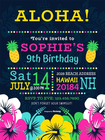 Colorful Polynesian Birthday Party Vector Invitation