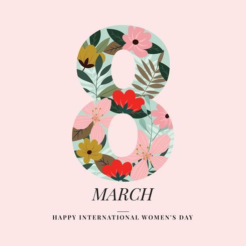Vettore floreale disegnato a mano di otto marzo-donna