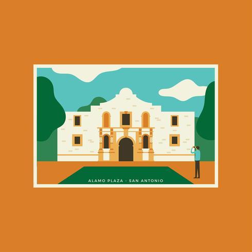 Vecteur de carte postale Alamo Plaza San Antonio
