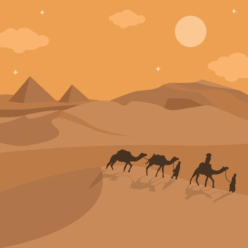 Illustration Of Nomad Walk In The Desert