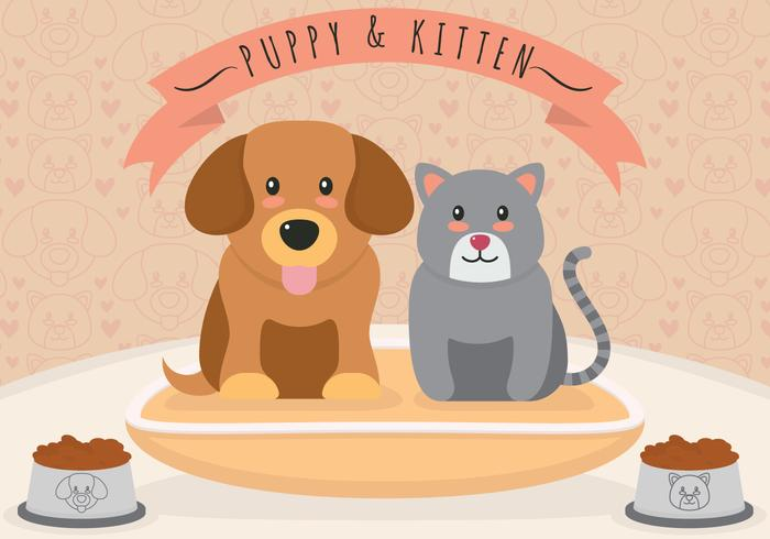Puppies and kittens vector illustration