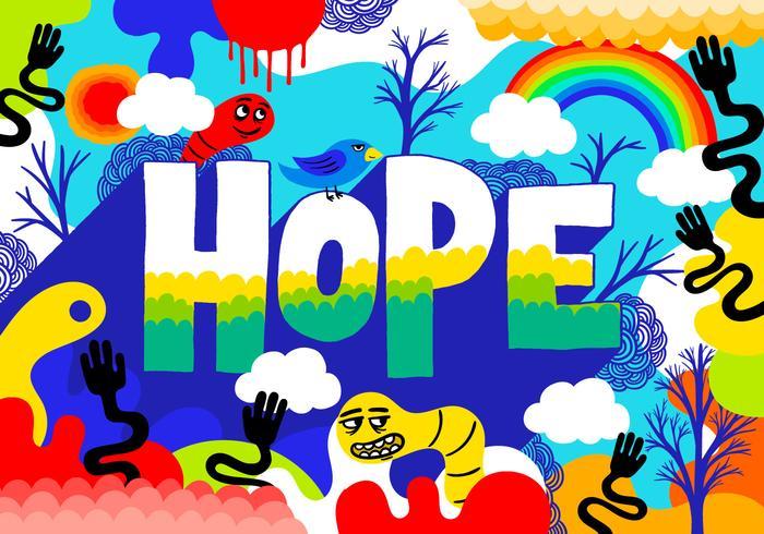 bunte Hoffnung Schriftzug Illustration