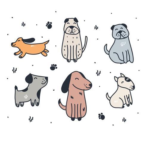Ensemble de chiens dessinés à la main