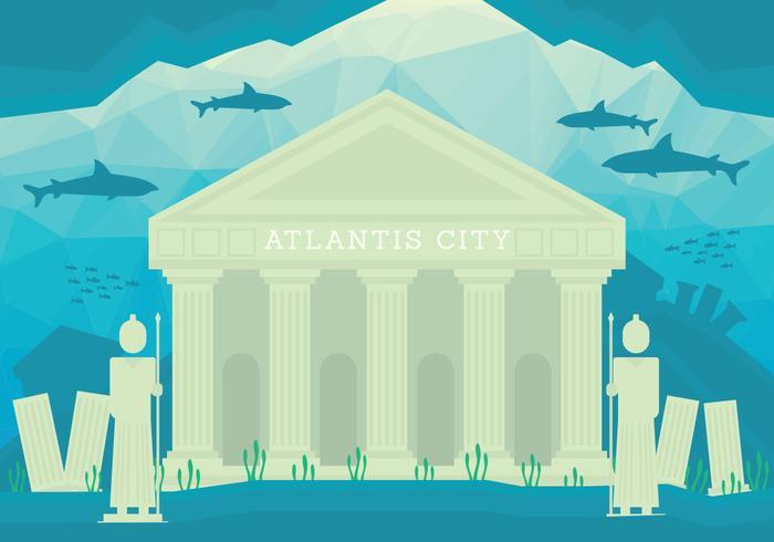Stad van de illustratie van Atlantis