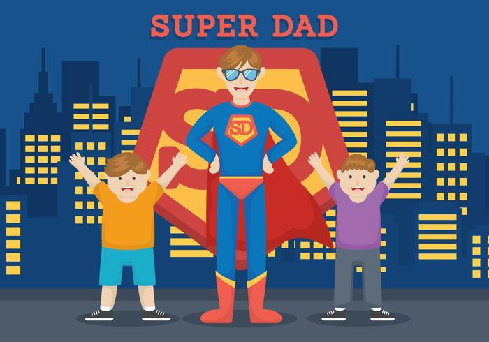 Superhelden-Dad-Vektor-Illustration