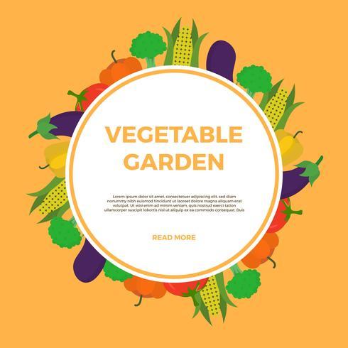 Ilustração em vetor jardim vegetal plana