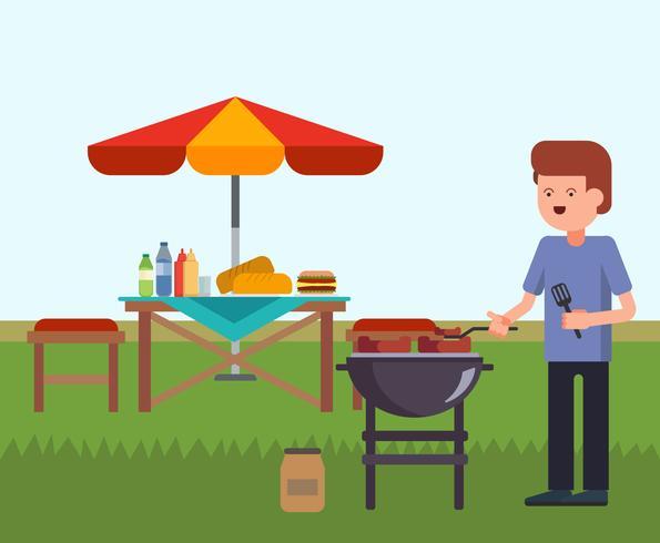Vetor de churrasco de quintal