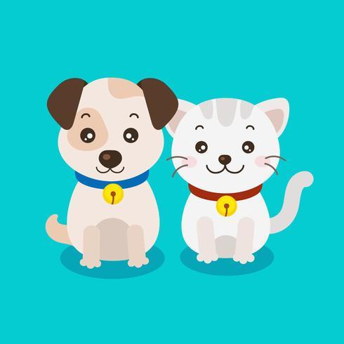 Filhote de cachorro bonito e gatinho dos desenhos animados