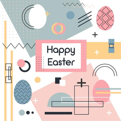 Memphis Easter Background Vector