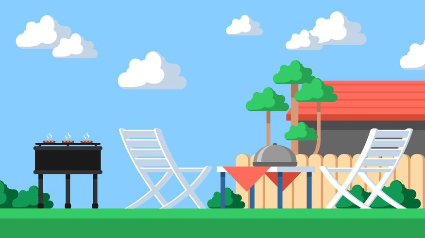 Landscape Backyard Barbecue Vector