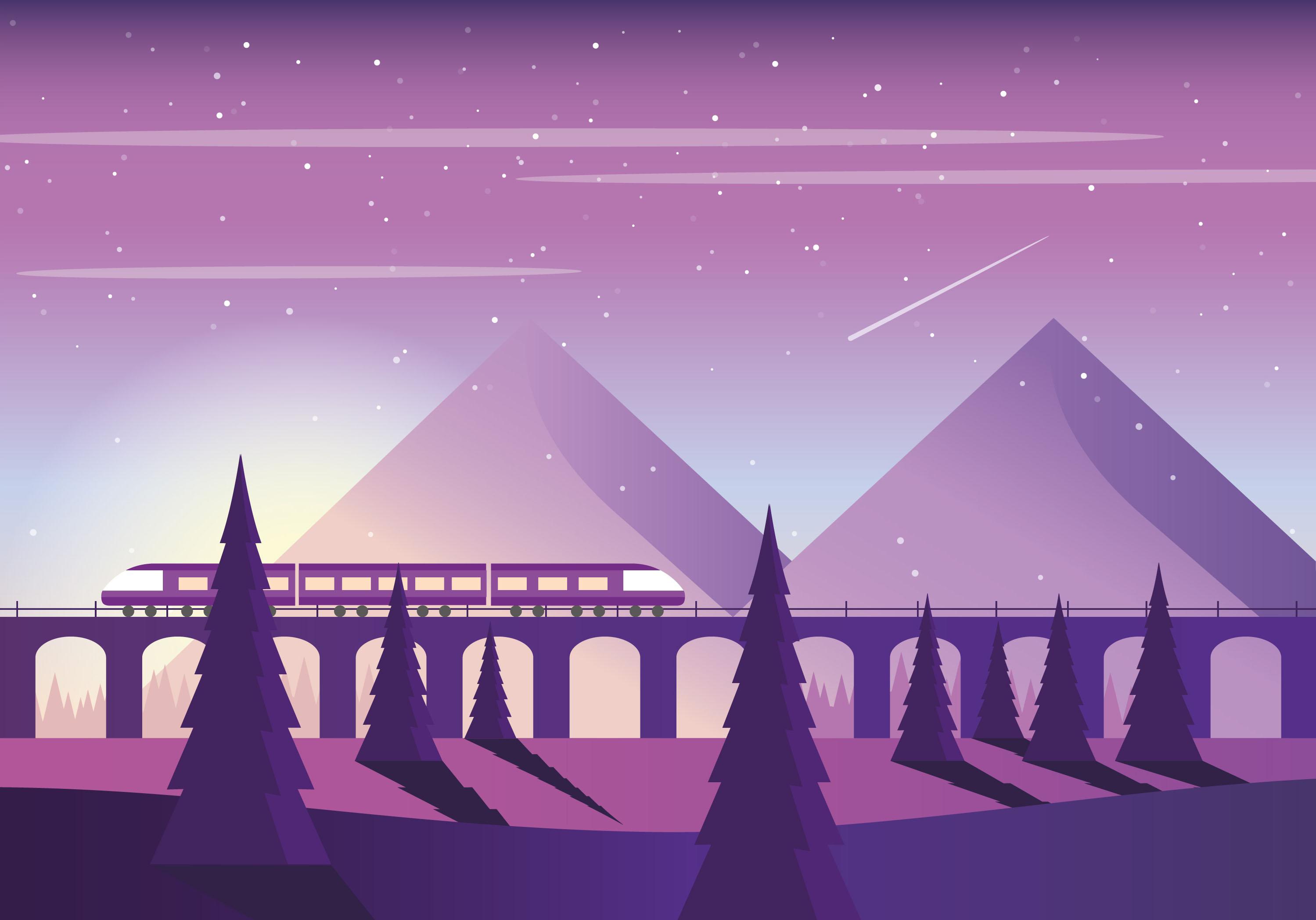 Landscape Illustration Vector Free: Vector Purple Landscape Illustration