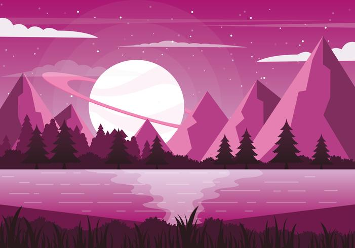 Vector paarse fantasie landschap illustratie