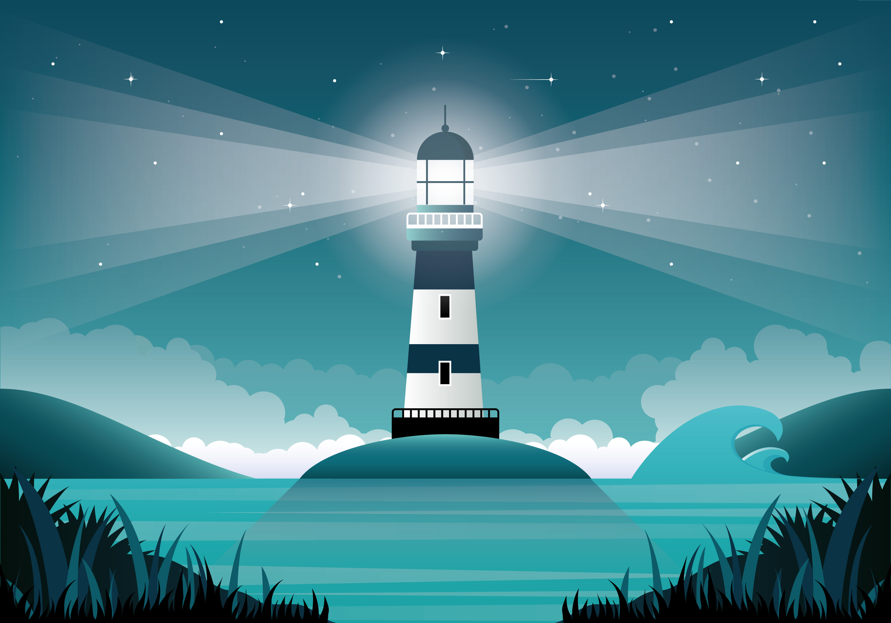 Vector Lighthouse Illustration - Download Free Vectors ...