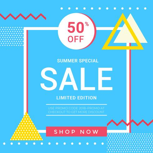Vector Summer Sale Memphis Banner