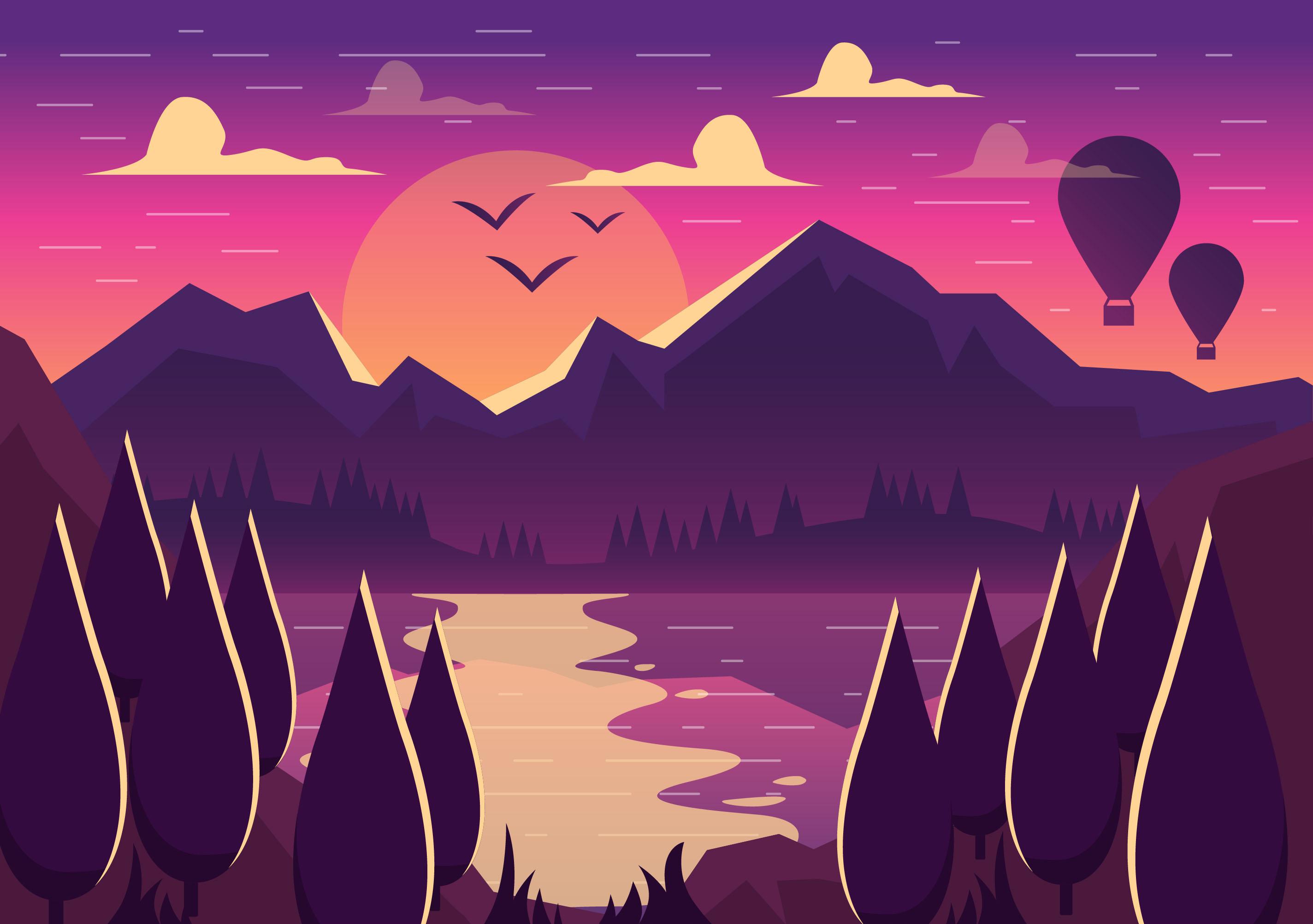 vector mountain landscape illustration
