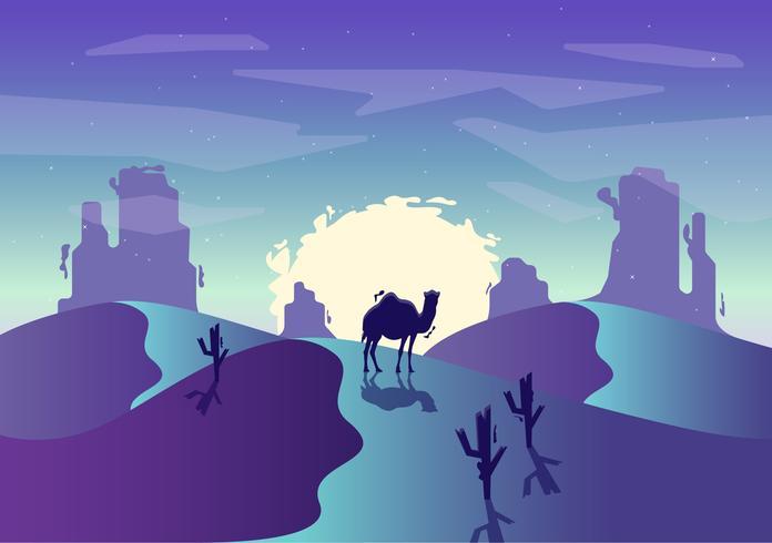 Ilustración de vector desierto paisaje