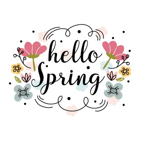 Hello Spring Vector Background