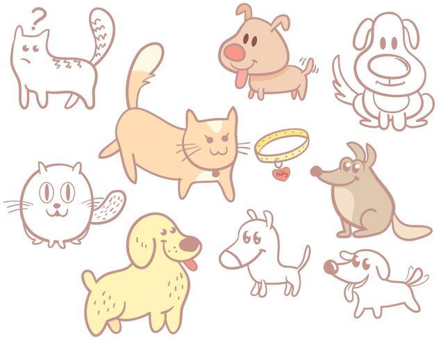 Katzen Hunde Vektoren