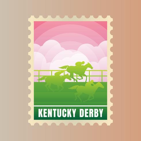 Modèle de timbre de carte postale du Kentucky Derby