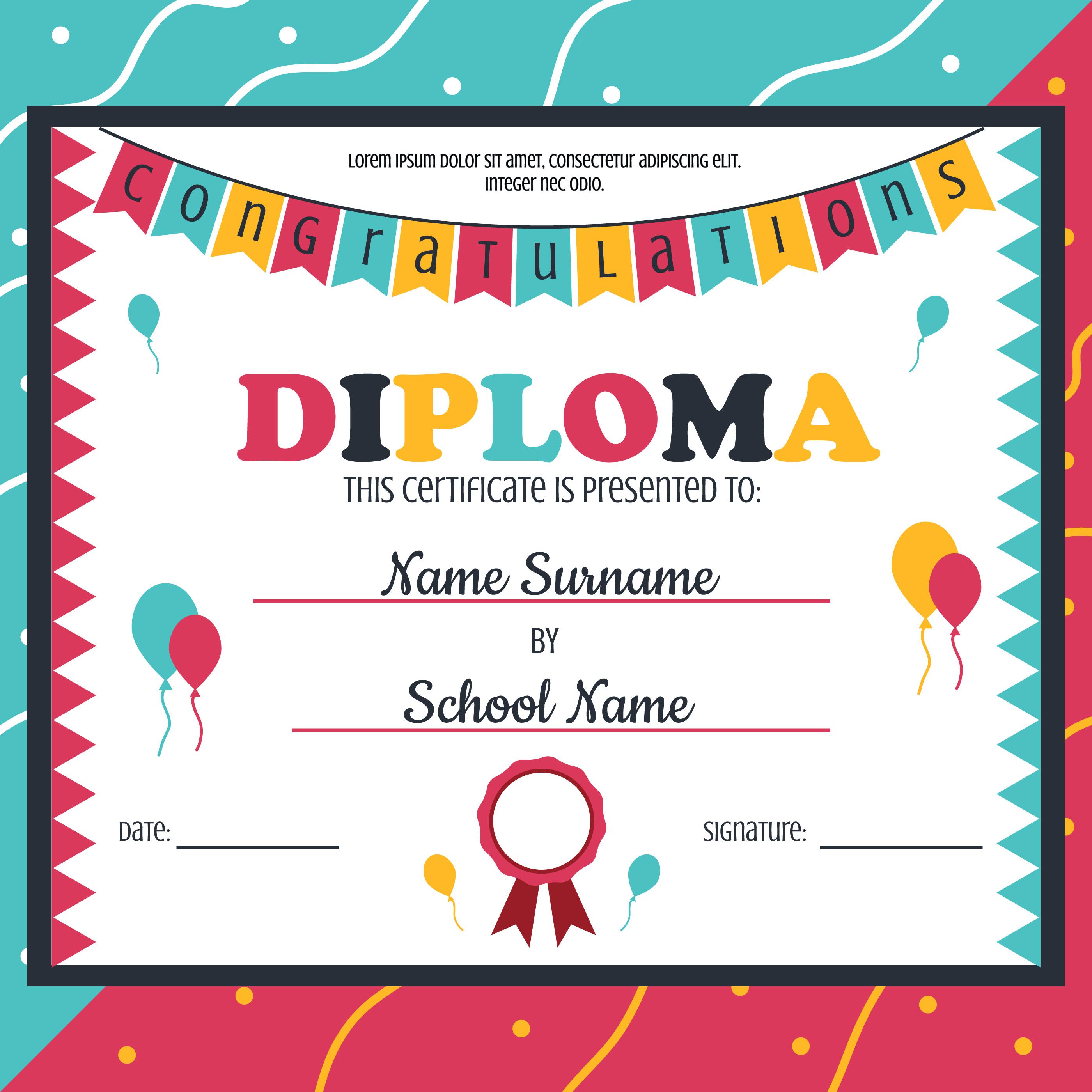 Vector de plantilla de diploma de Kindergarten - Descargue Gráficos ...