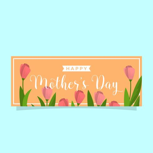 Platte moeders dag vector sjabloon voor spandoek