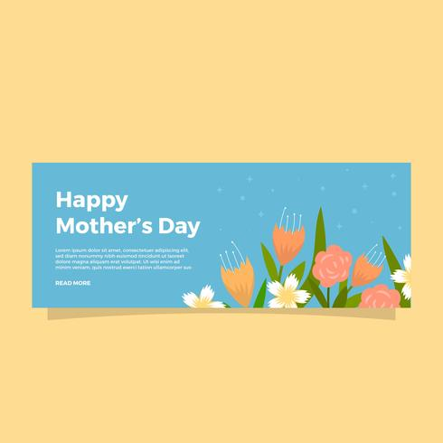 Flat Mothers Day Vector Banner Template