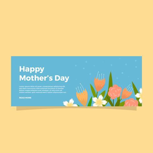 Modelo de Banner de vetor plana mães dia