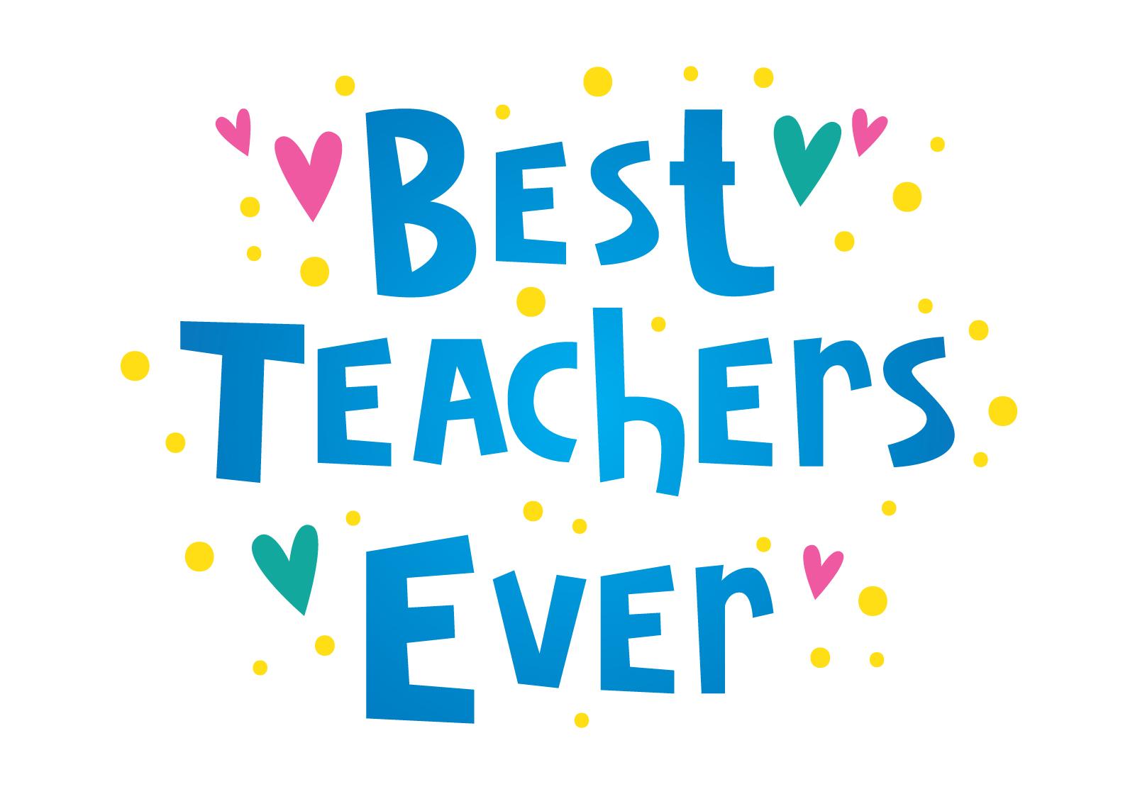 best teachers ever typography download free vector art