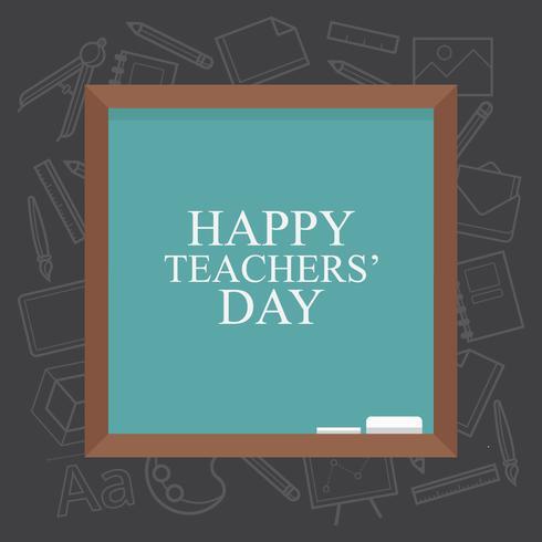 Greeting card happy teachers day illustration. Black Board, written chalk.