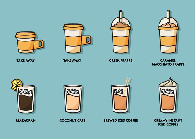 Eiskaffee-Illustration-Set vektor