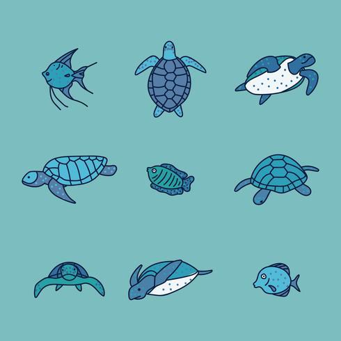 Set van blauwe schildpadden vector