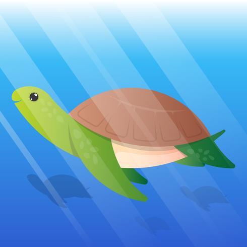 Cute Turtle Cartoon Underwater Illustration
