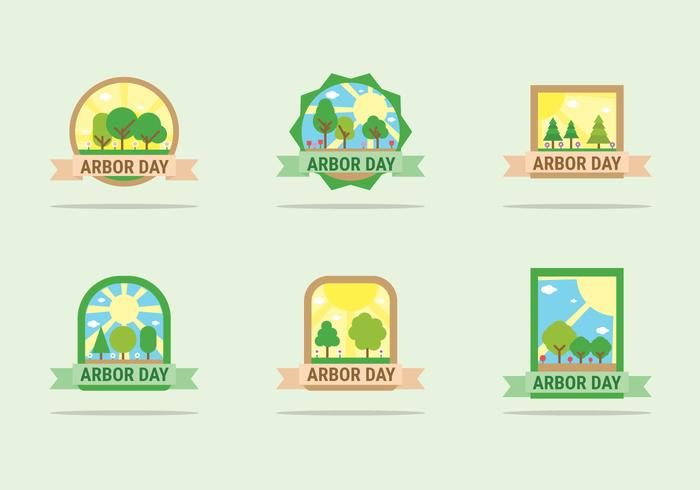 arbor dag badges vector ontwerp