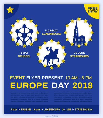 Europe Day Event Flyer Vector Template