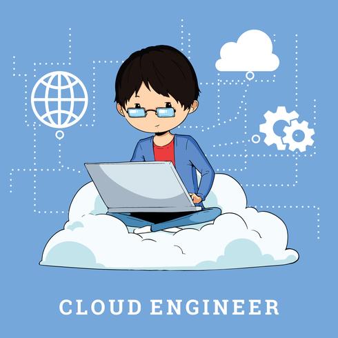Ilustração de engenheiros de nuvem