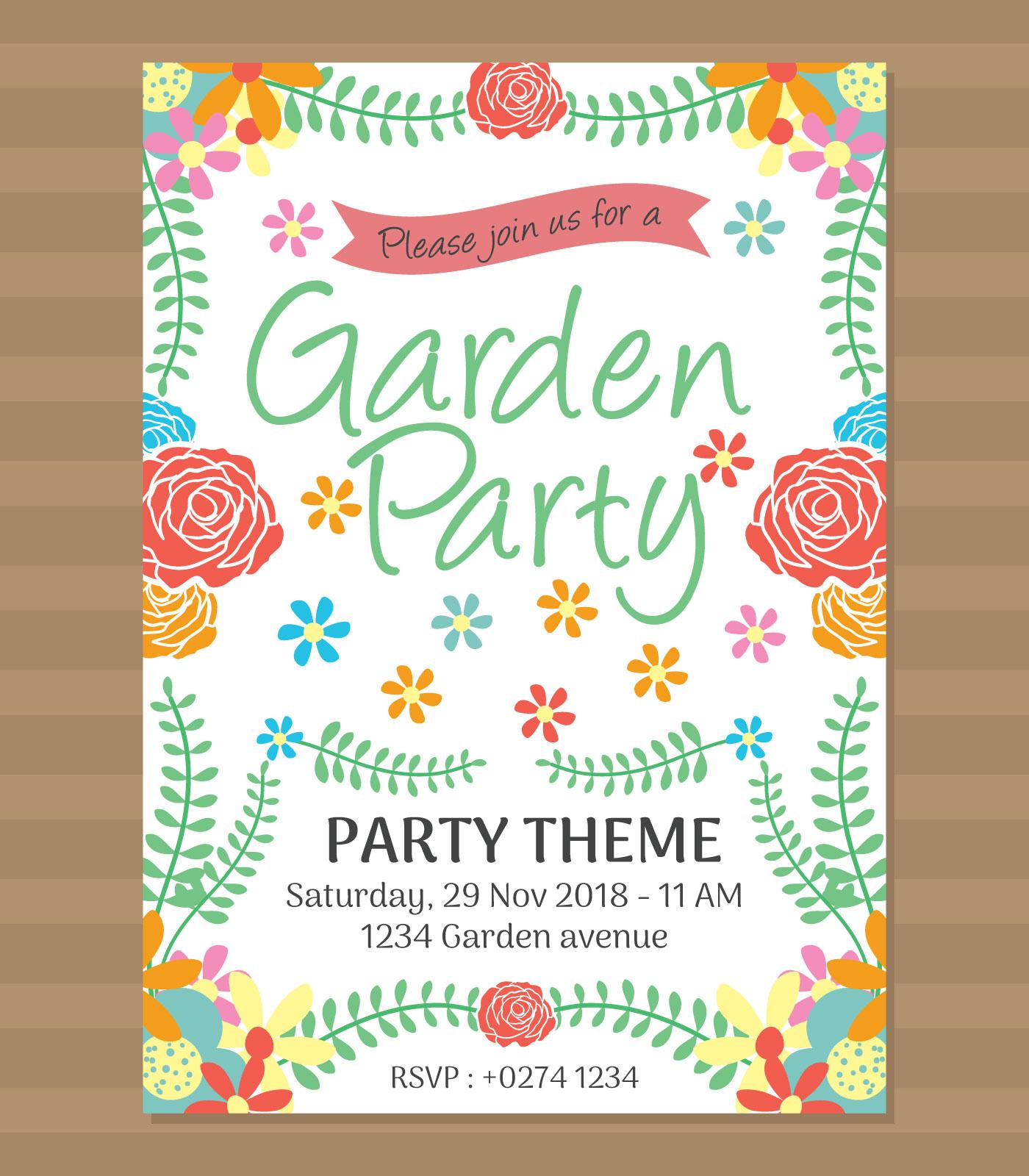 Garden Party Invitation Free Vector Art - (11604 Free Downloads)