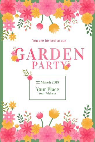 Vetor de convite de festa de jardim