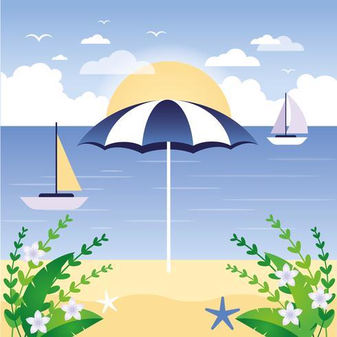 Vector Beach Landscape Illustration
