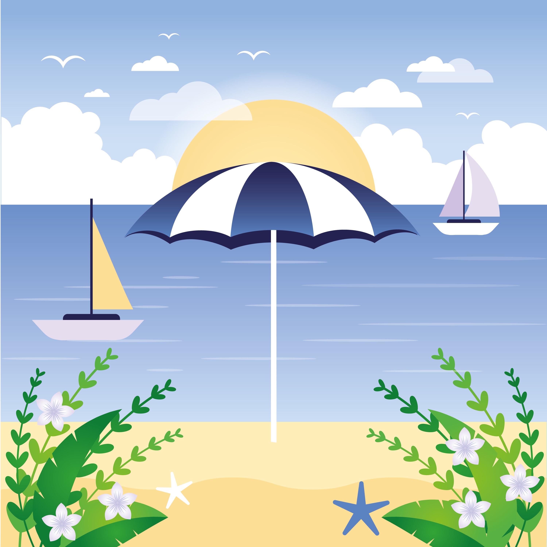 Landscape Illustration Vector Free: Vector Beach Landscape Illustration